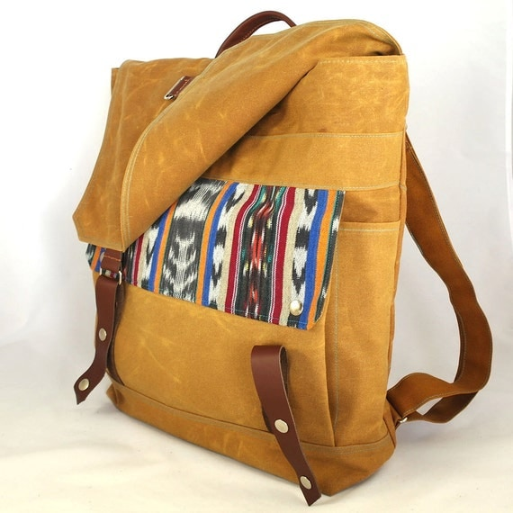 Ikat Waxed Canvas Backpack