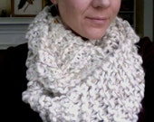 LONG Handknit Cowl Infinity Scarf - WINTER WHITE with subtle gold sparkle