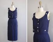vintage 1940s Nautical Jumper dress