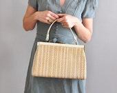 1960s handbag / Woven Twine bag