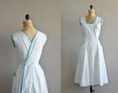 50s dress / 1950s wrap dress / Summer Snowflake