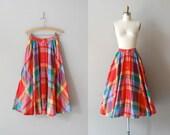 red plaid skirt / cotton midi skirt / Primary Plaid skirt