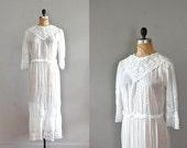 1920s dress / Edwardian tea dress / white lace dress