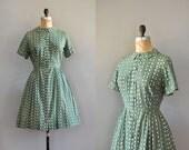 1950s dress / silk 50s dress / 50s shirtdress / All Hail dress