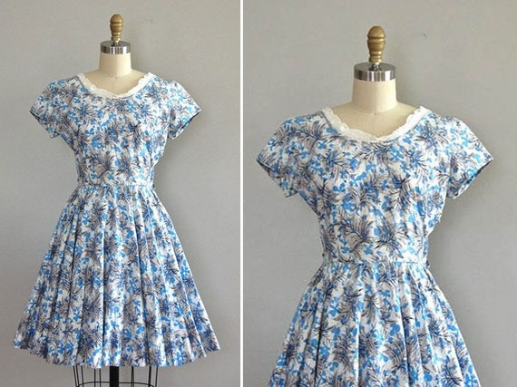 vintage 1950s SHADOW FRONDS dress
