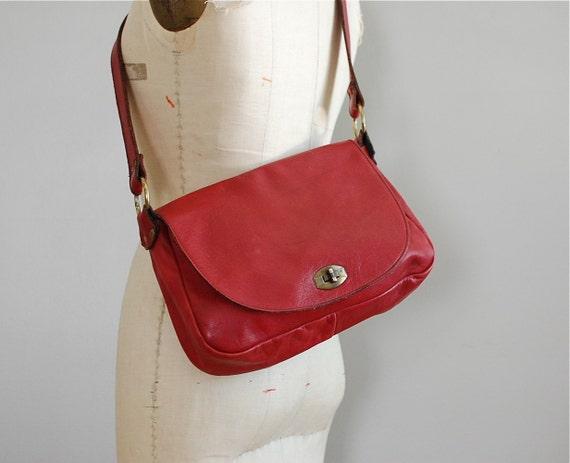 vintage 1970s OXBLOOD leather saddle bag