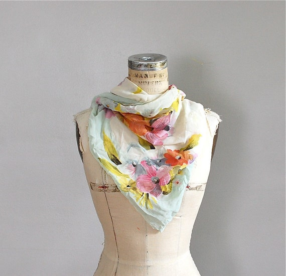 vintage 1950s Candy Floral silk scarf