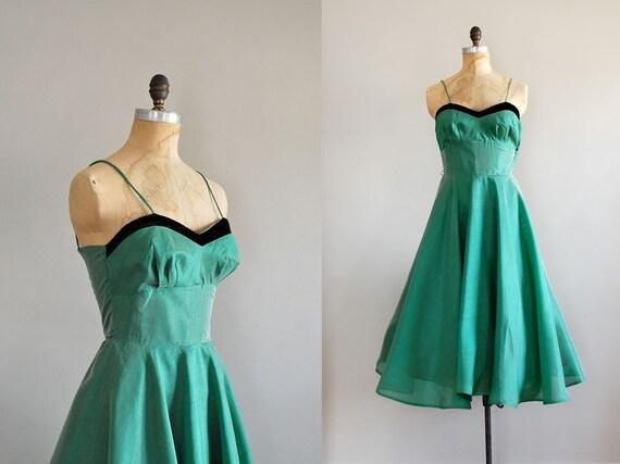 50s dress / vintage 1950s / Viridian Shimmer