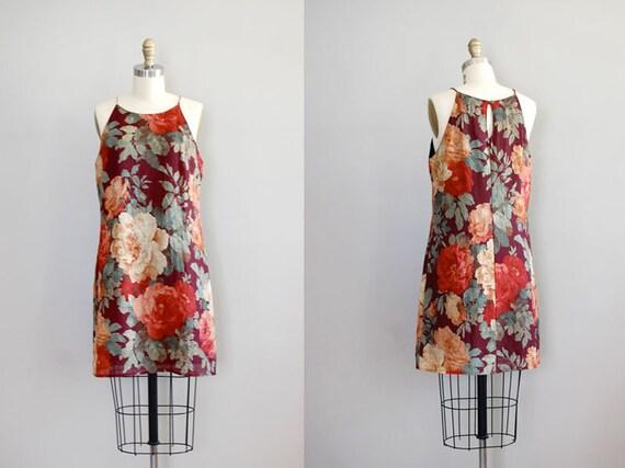 vintage floral halter dress / September Bloom