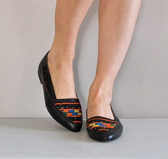 1980s tribal shoes / ethnic woven flats / Kukulkan Tribal skimmers