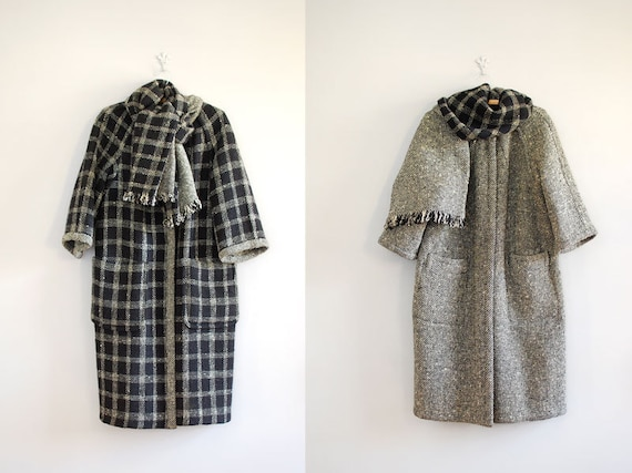 1960s coat / wool coat / Reversible Cocoon Coat