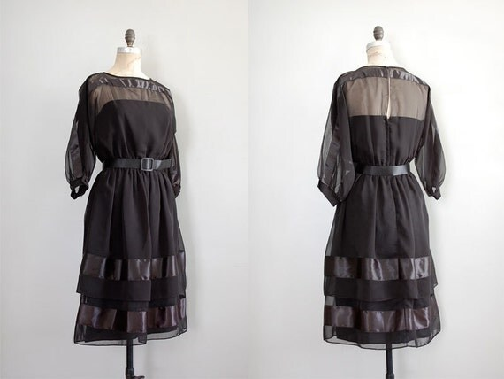 1970s dress / black chiffon dress / Jack Bryan dress