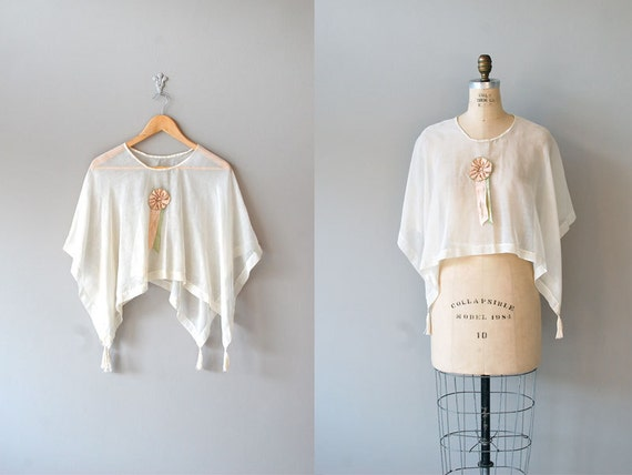 1920s blouse / sheer blouse / 20s clothing / Batiste Capelet
