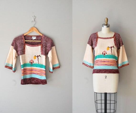 folk sweater / 1970s sweater / The Water Gatherers