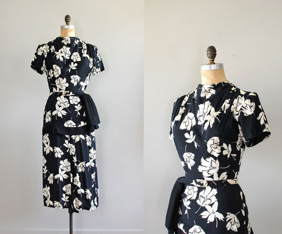 40s dress / floral print 1940s dress / Origami Flower dress