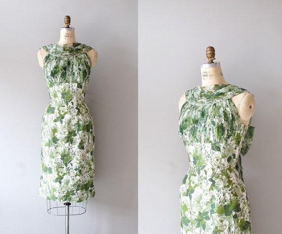 50s dress / silk dress 1950s / floral print / Catalpa dress