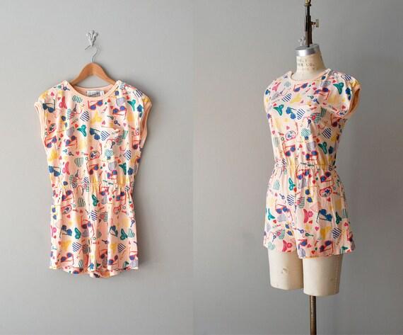 vintage romper / 80s cotton jumpsuit / Girls Only romper