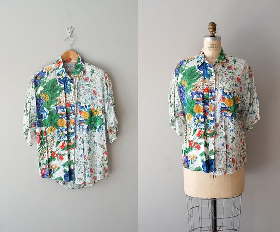 floral blouse / floral print shirt / floral button down