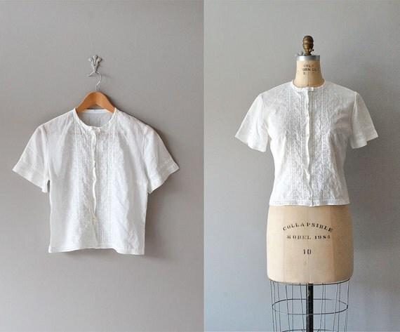 1950s blouse / white lace blouse / 50s blouse
