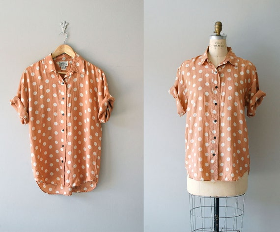 polka dot blouse / silk blouse / Slouchy Dot blouse