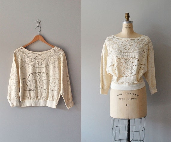 lace top / 70s cotton lace blouse / California Dreamin' top