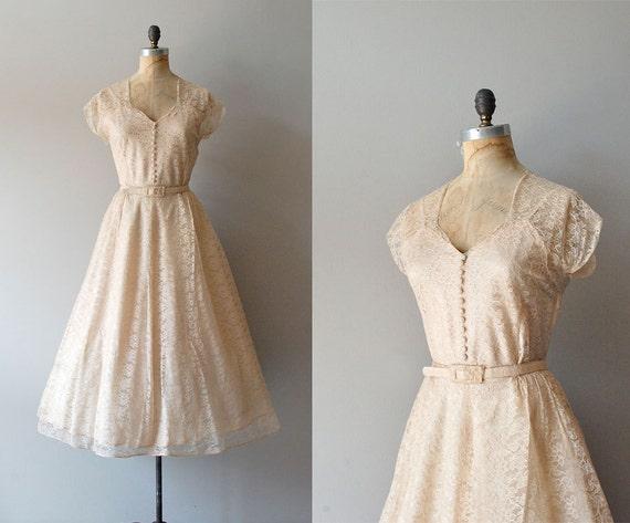 1940s Dress / 40s Lace Dress / Wedding Dress / Champagne Toast