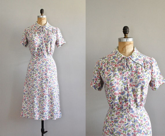 1930s dress / 30s dress / Pinwheel Flower dress