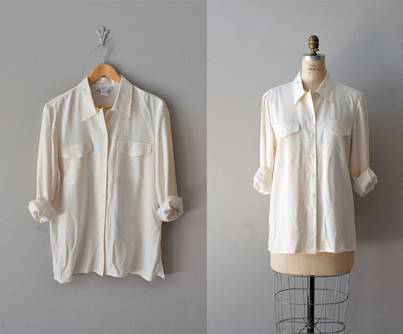silk blouse / pale cream silk shirt / slouchy silk blouse