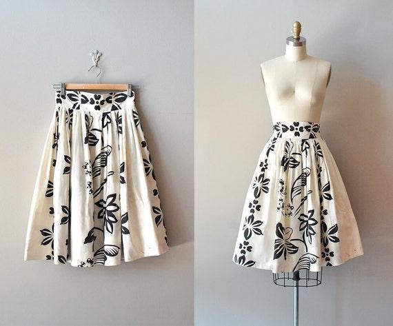 1950s skirt / 50s circle skirt / Stencilflower skirt