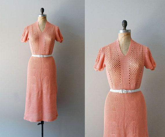 crochet dress / 1930s dress / 30s knit dress / Coral Gables