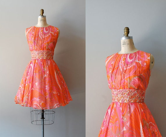 1960s dress / 60s dress / silk floral chiffon / Light the Way