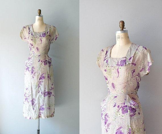 1940s dress / 40s printed rayon dress / Tiny Bubbles dress