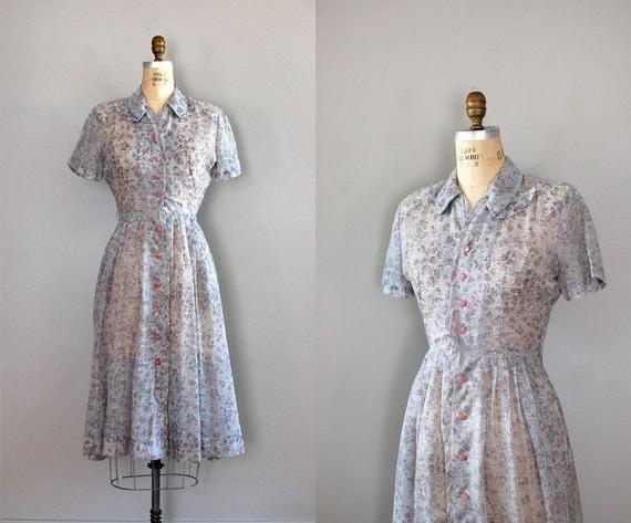 1940s dress / vintage 40s dress / Lavender Fields dress