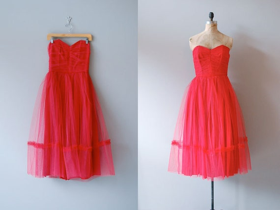1950s dress / strapless tulle 50s dress / Fools Rush In
