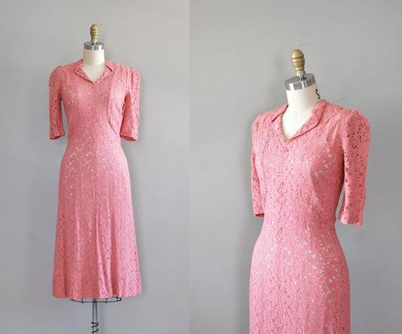 1930s dress / 30s lace dress / La Vie en Rose dress