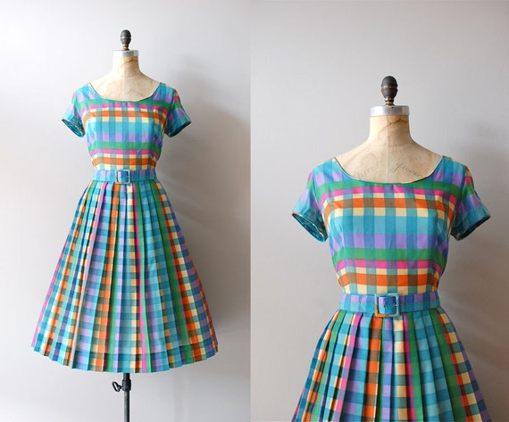 1950s dress / 50s dress / Crayola Plaid dress