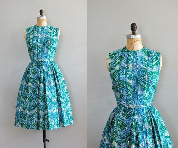 1960s dress / paisley print dress / Oceanography dress