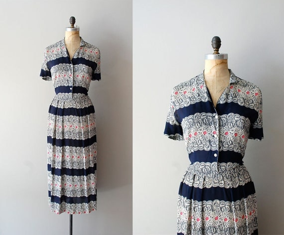 1940s dress / rayon 40s dress / Bookbinder dress