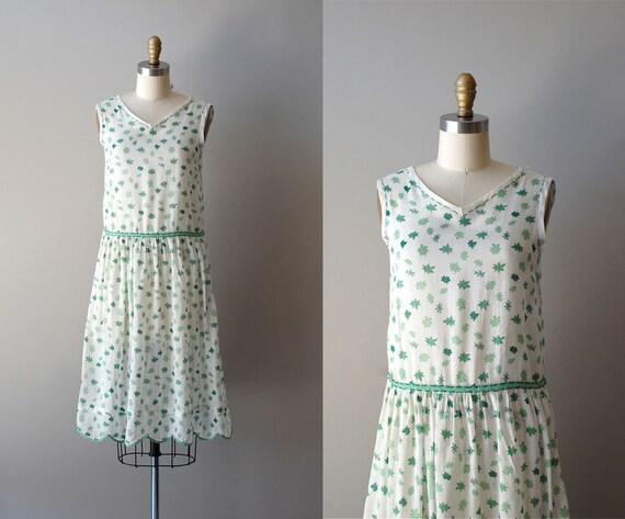 1920s dress / 20s cotton dress / Spring Leaf dress
