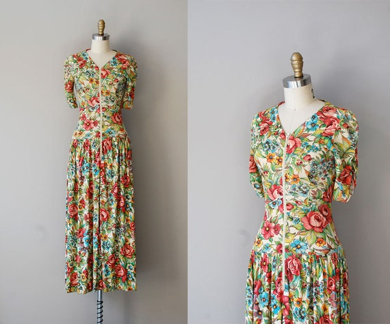1940s dress / floral 40s dress / Vizcaya Garden dress