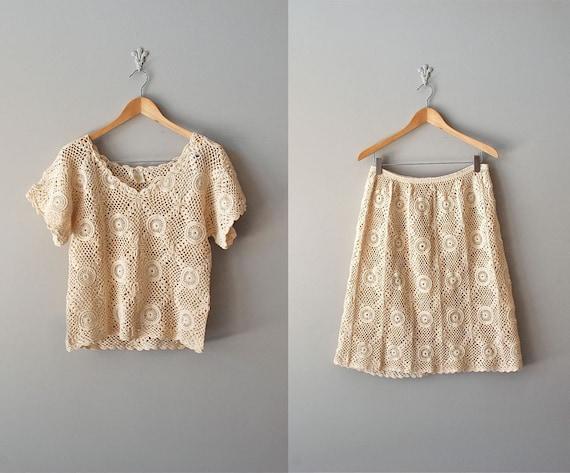 crochet dress / 70s cotton knit two-piece / Sausalito dress