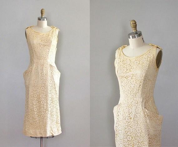 S A L E 50s lace dress / 1950s wiggle dress / Jonquil Lace dress