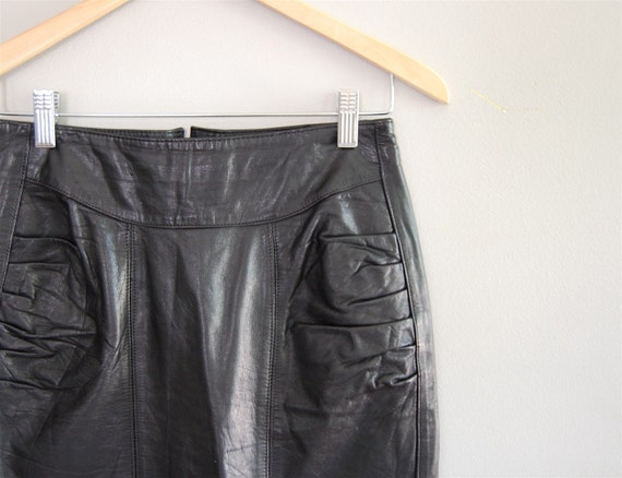 vintage HIGH WAIST Gathered Leather Pencil Skirt