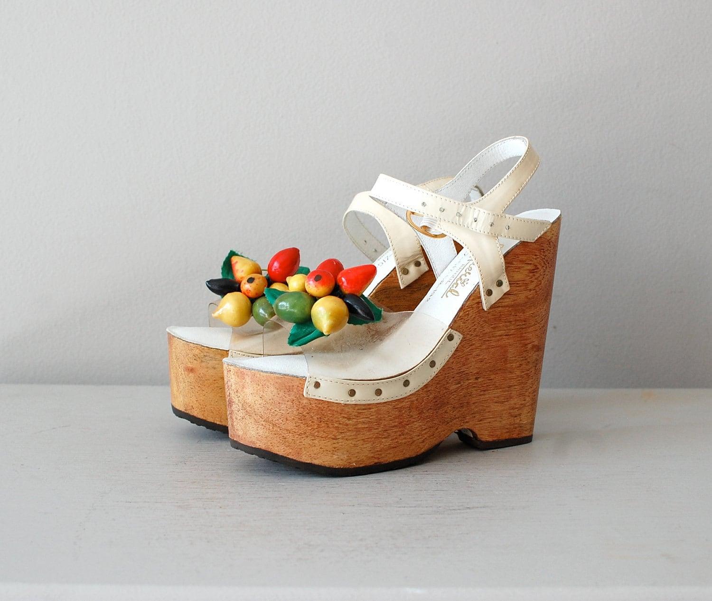Platform Shoes 1970s Wood Platforms Carmen Miranda