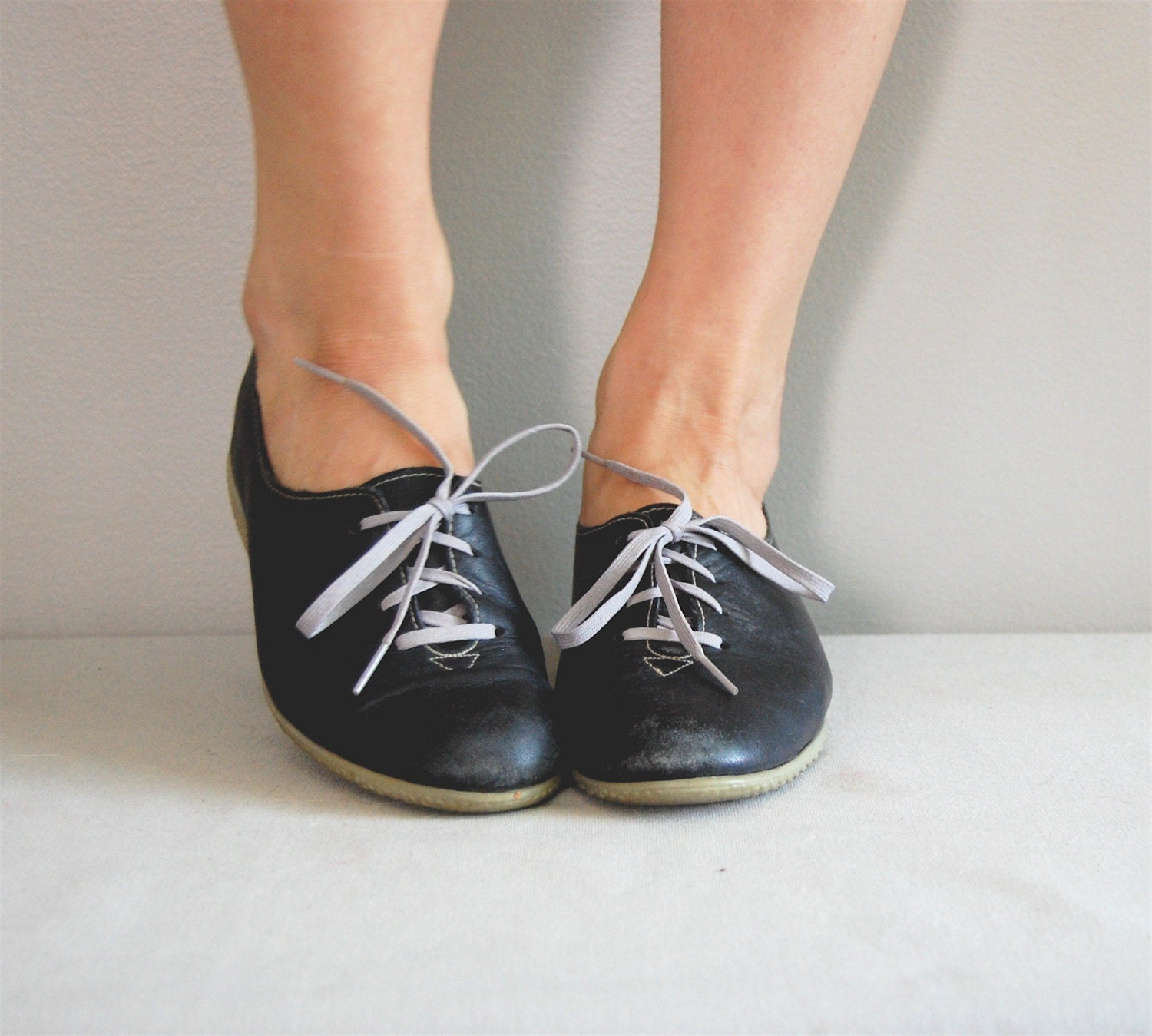 vintage leather oxford wedge shoes