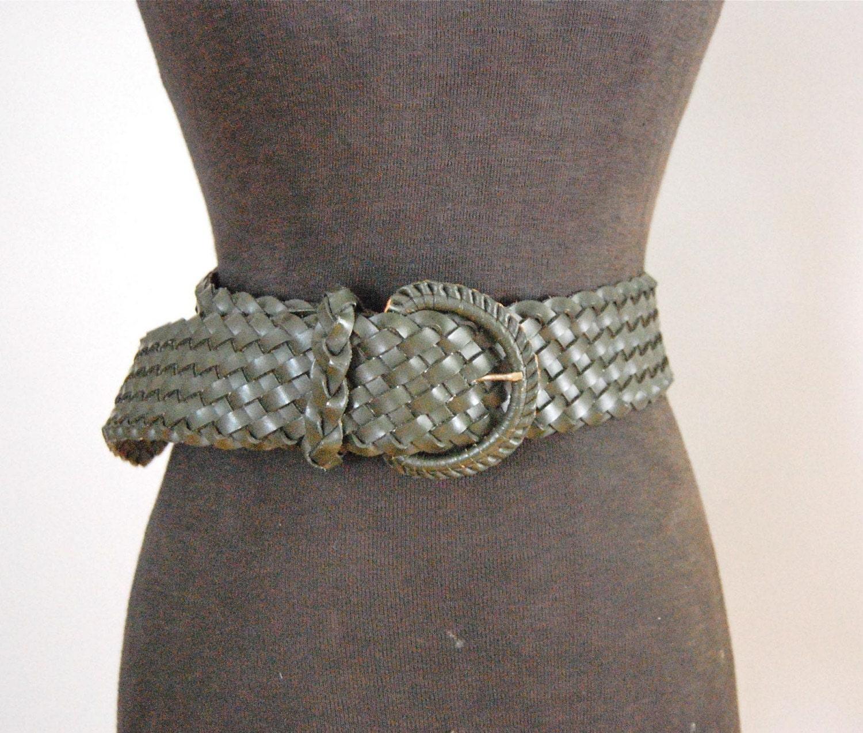 vintage olive green wide woven belt