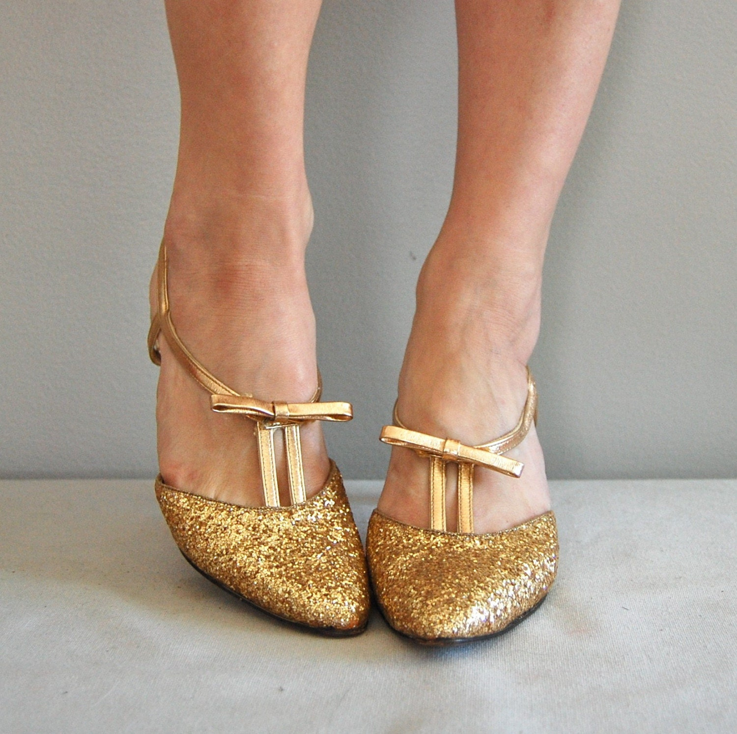 Gold Kitten Heel Shoes | Tsaa Heel
