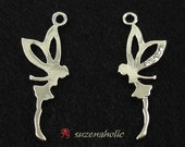 Cubic Zirconia Tinkerbell charms, Silver Plating over Pewter (4pcs)