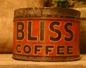 CANDLE Unique Hand-Poured Soy Wax Candle In Old Vintage Orange BLISS Primative Coffee Tin Can Great Wedding BRIDAL Bride Gift Eco-Friendly