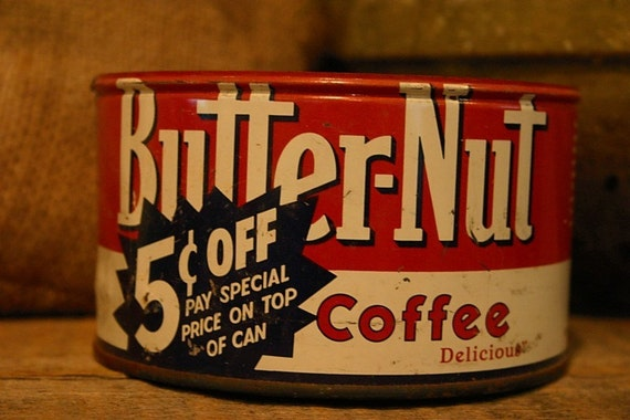 CANDLE Unique Hand-Poured Soy Wax Candle in Vintage BUTTER-Nut primative Coffee Can GREAT Gift Antique Collectable farmhouse Tin